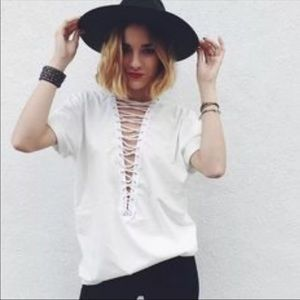 LF Emma & Sam Cream Lace Up Top